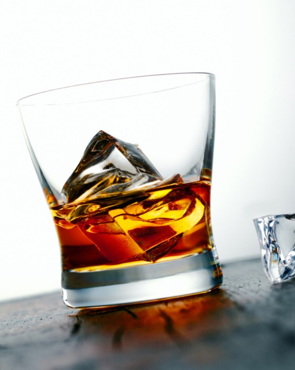 Whiskey or brandy on the rocks